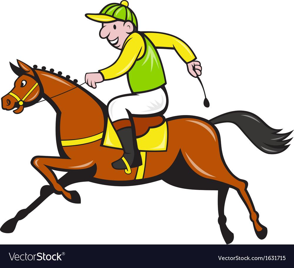 Cartoon Jockey And Horse Racing Side