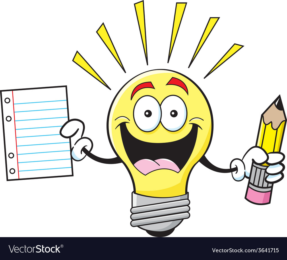 Cartoon light bulb holding a paper and pencil vector image