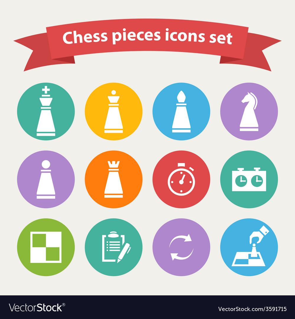Chess pieces white icons set