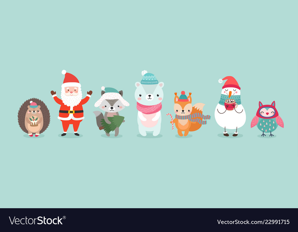 Christmas characters - animals snowmen santa