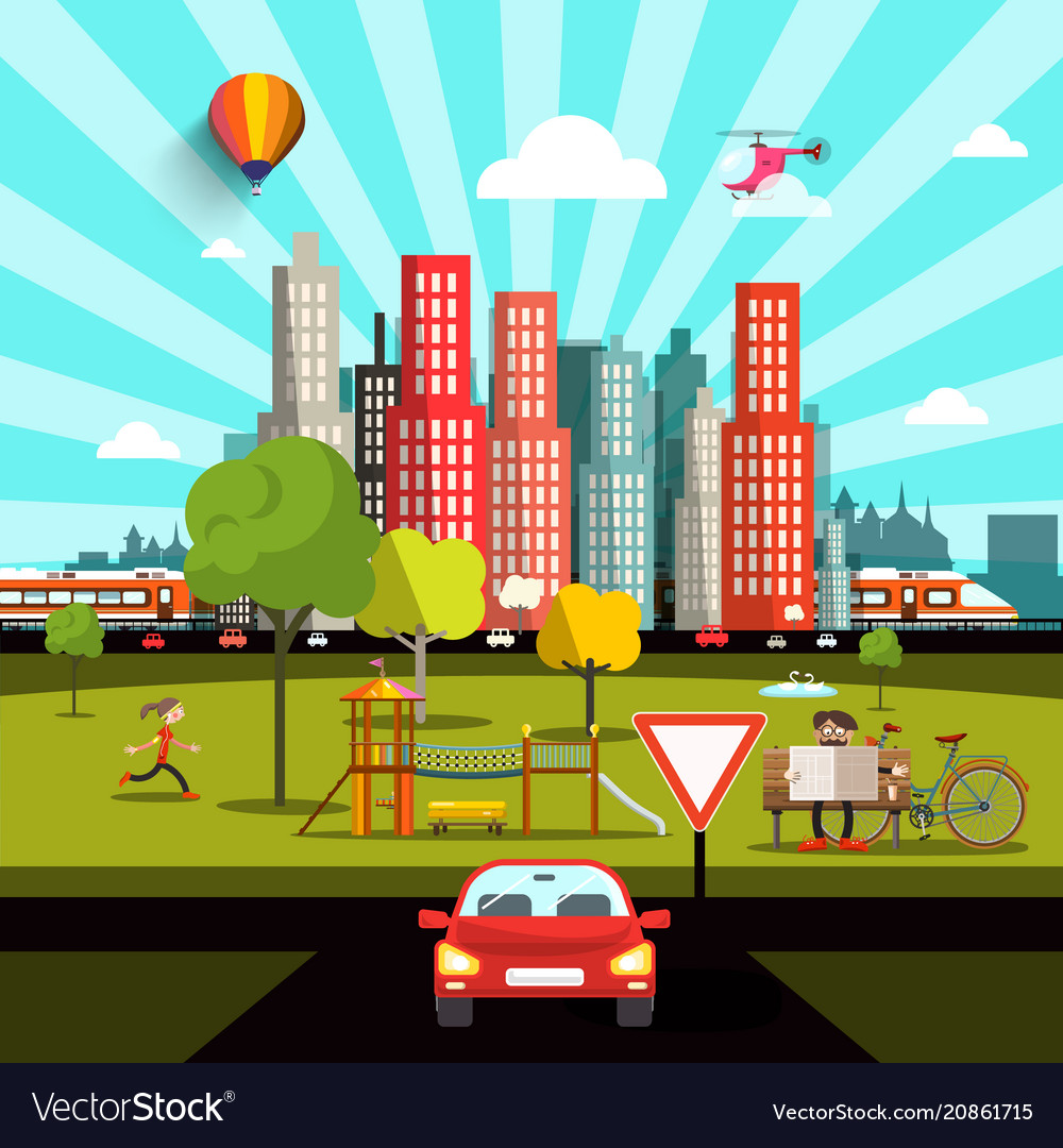 City view with car road people and skyscrapers vector image