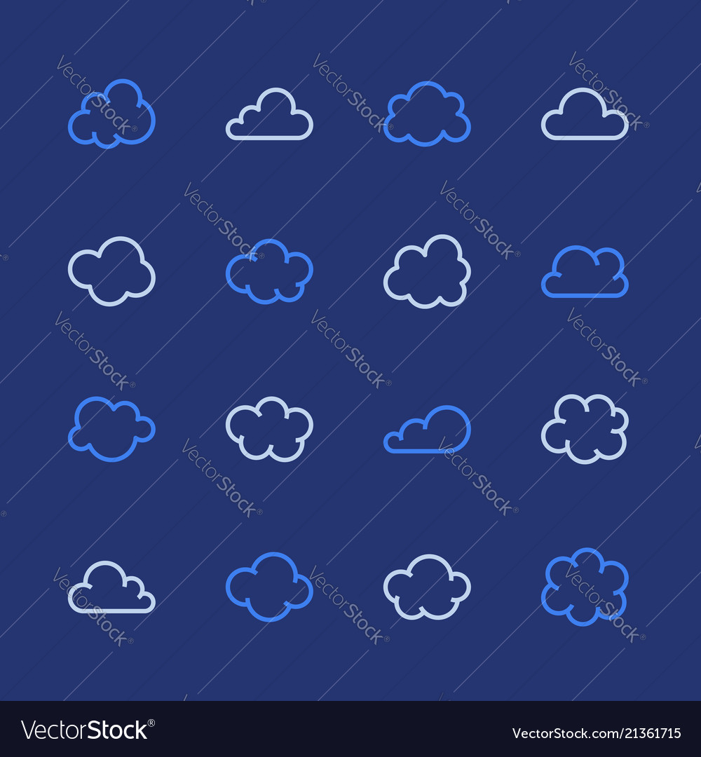 Cloud flat line icons clouds symbols for data