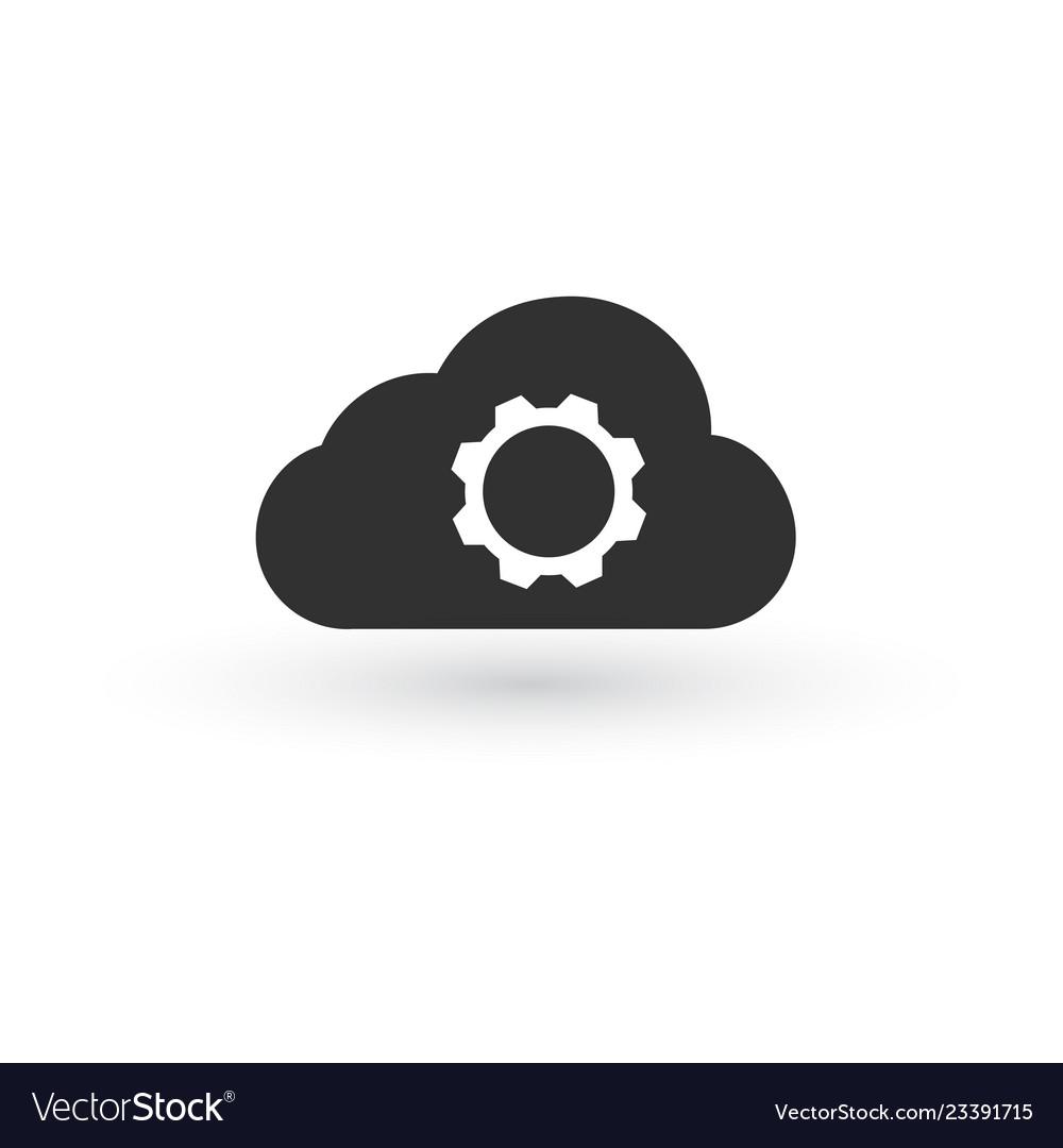 Cloud storage settings linear icon web hosting