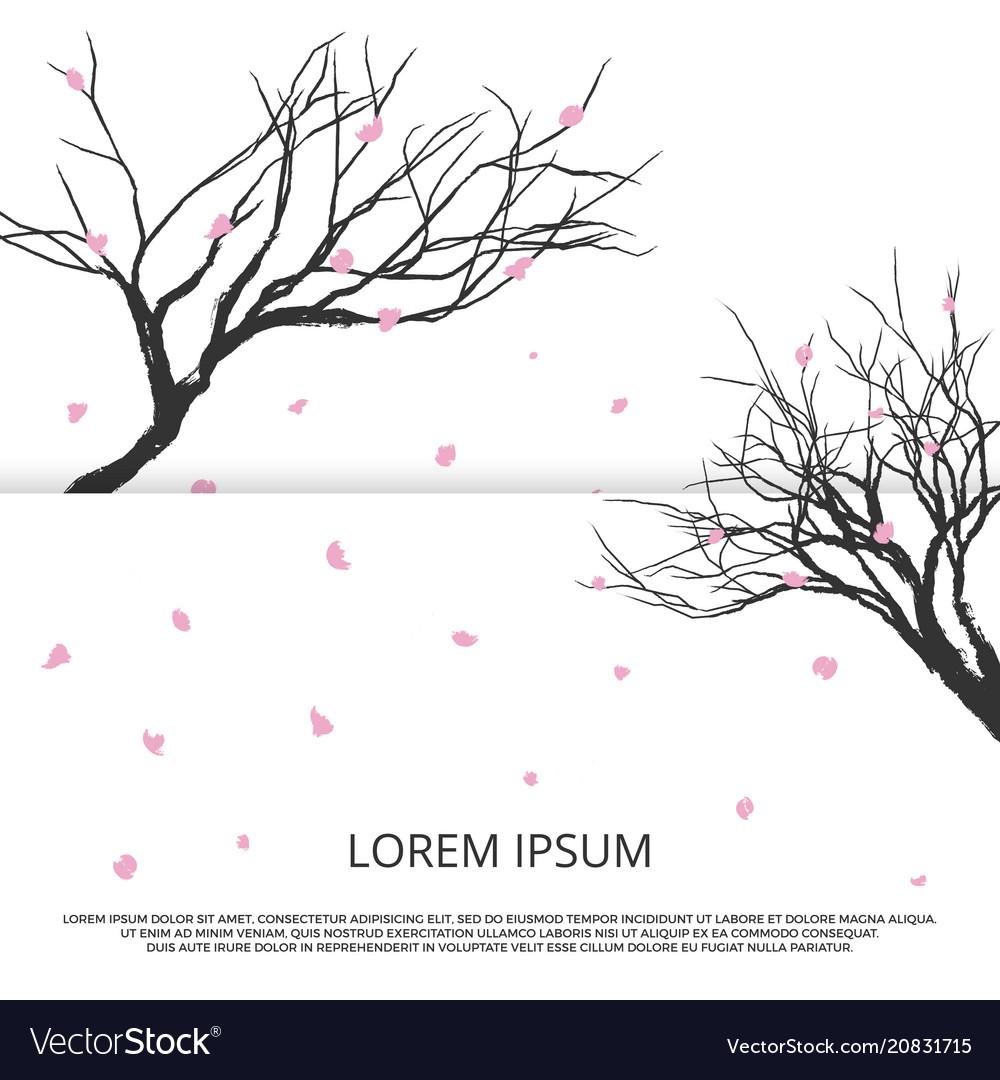 Grunge sakura silhouette and pink leaves