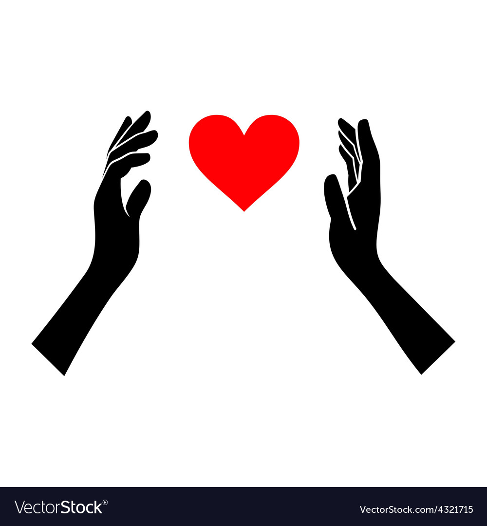 Heart in Hands Silhouette on White Background