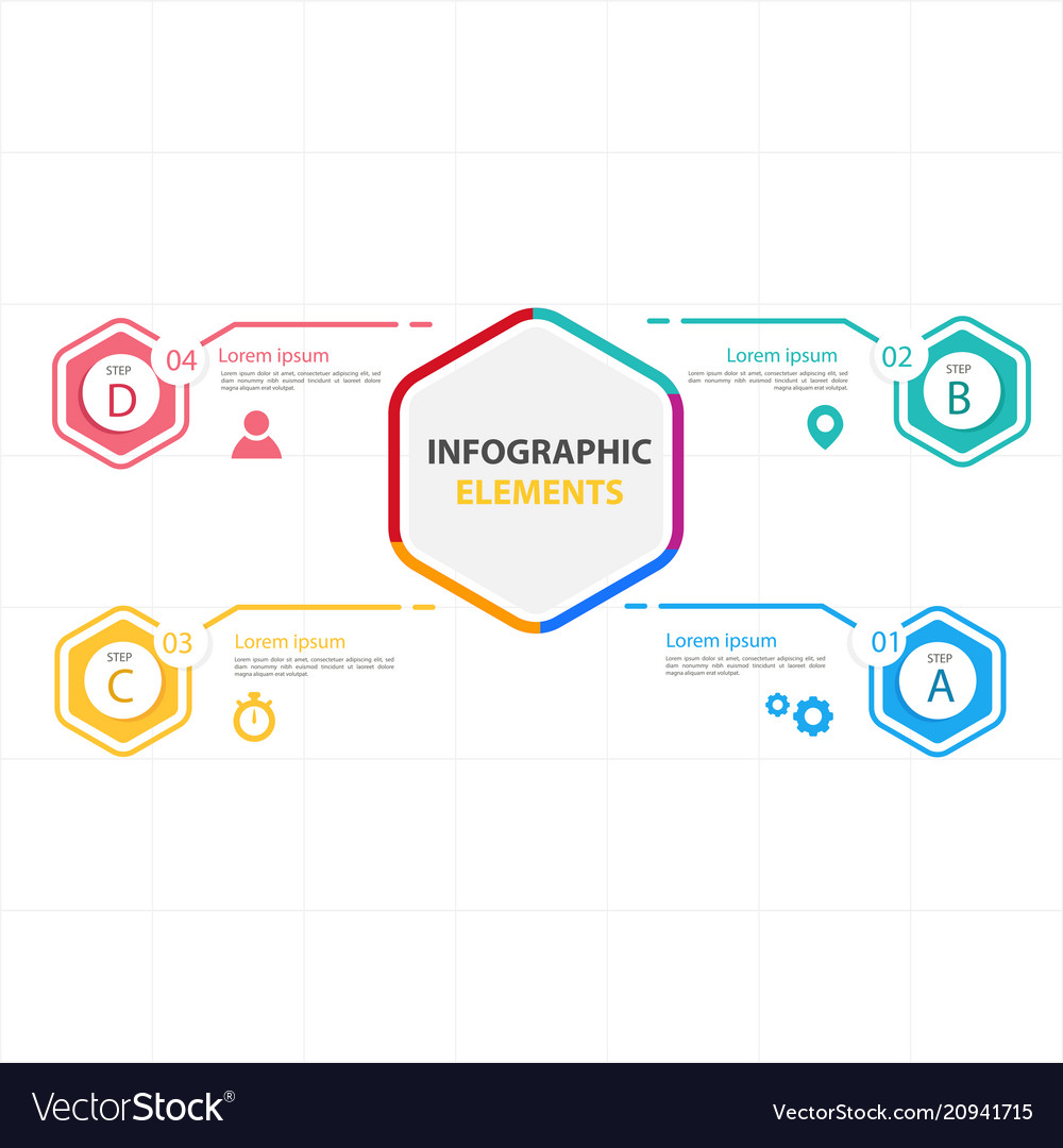 Hexagon infographic elements with four options vec