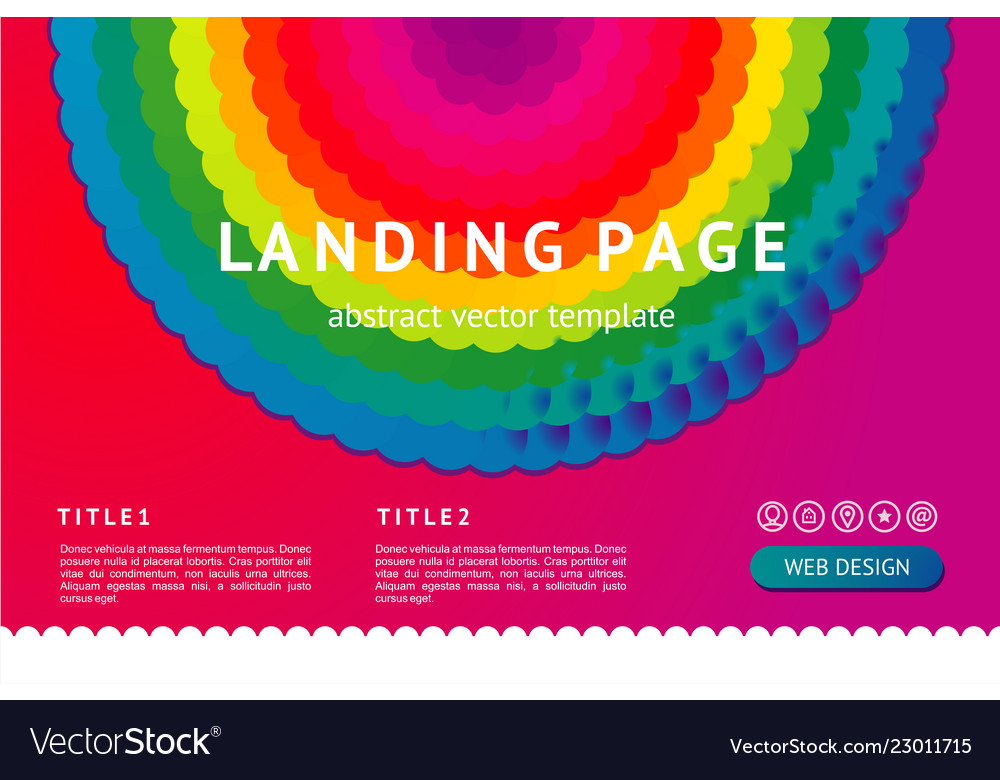 Landing page with abstract geometric element web