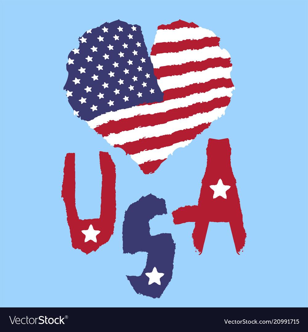 Love usa america vintage national flag in