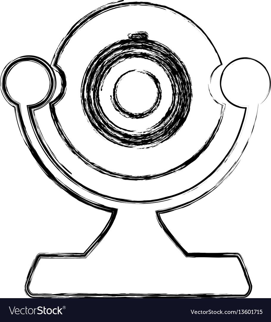 Monochrome sketch of desktop webcam vector image