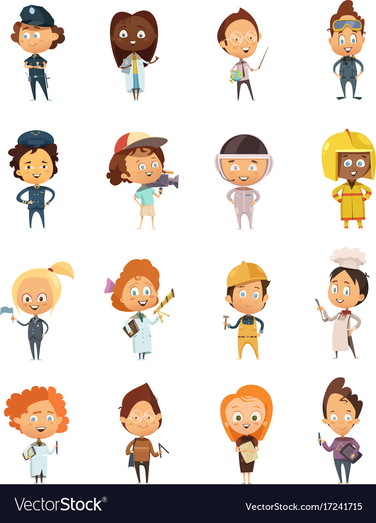 People professions cute cartoon icons vector image