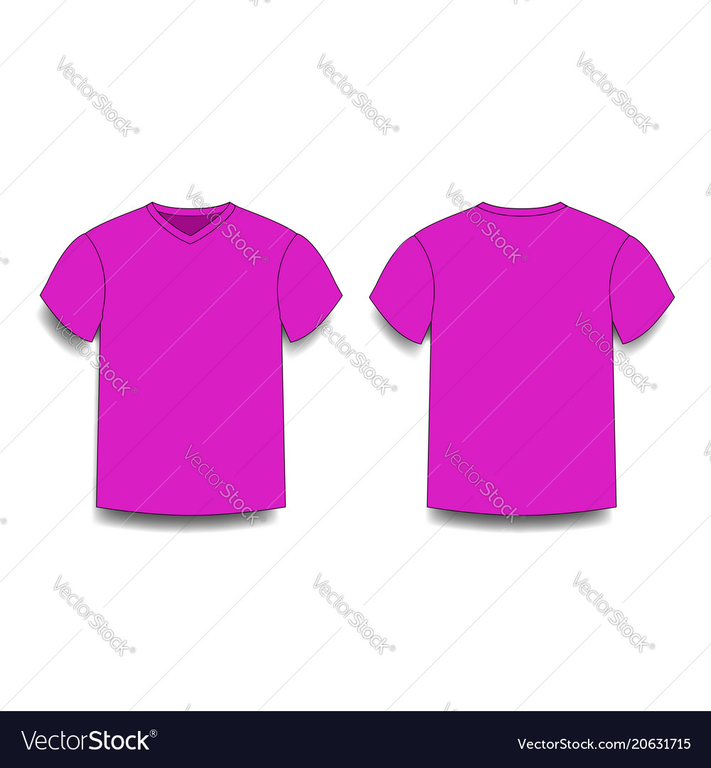 Purple male t-shirt template v-neck front and Vector Image