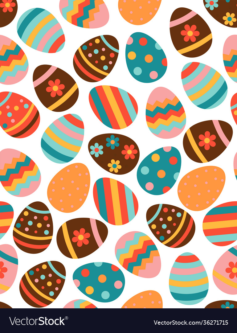 Seamless pattern with multicolored easter eggs on