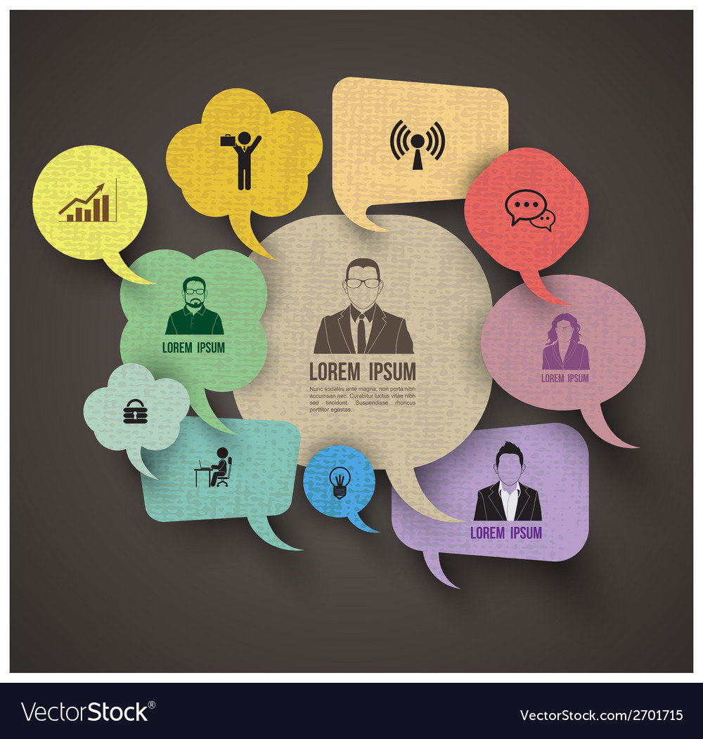 Speech bubble group with icons vector image