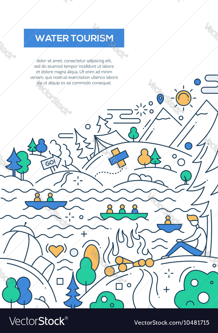 Water Tourism - line design brochure poster