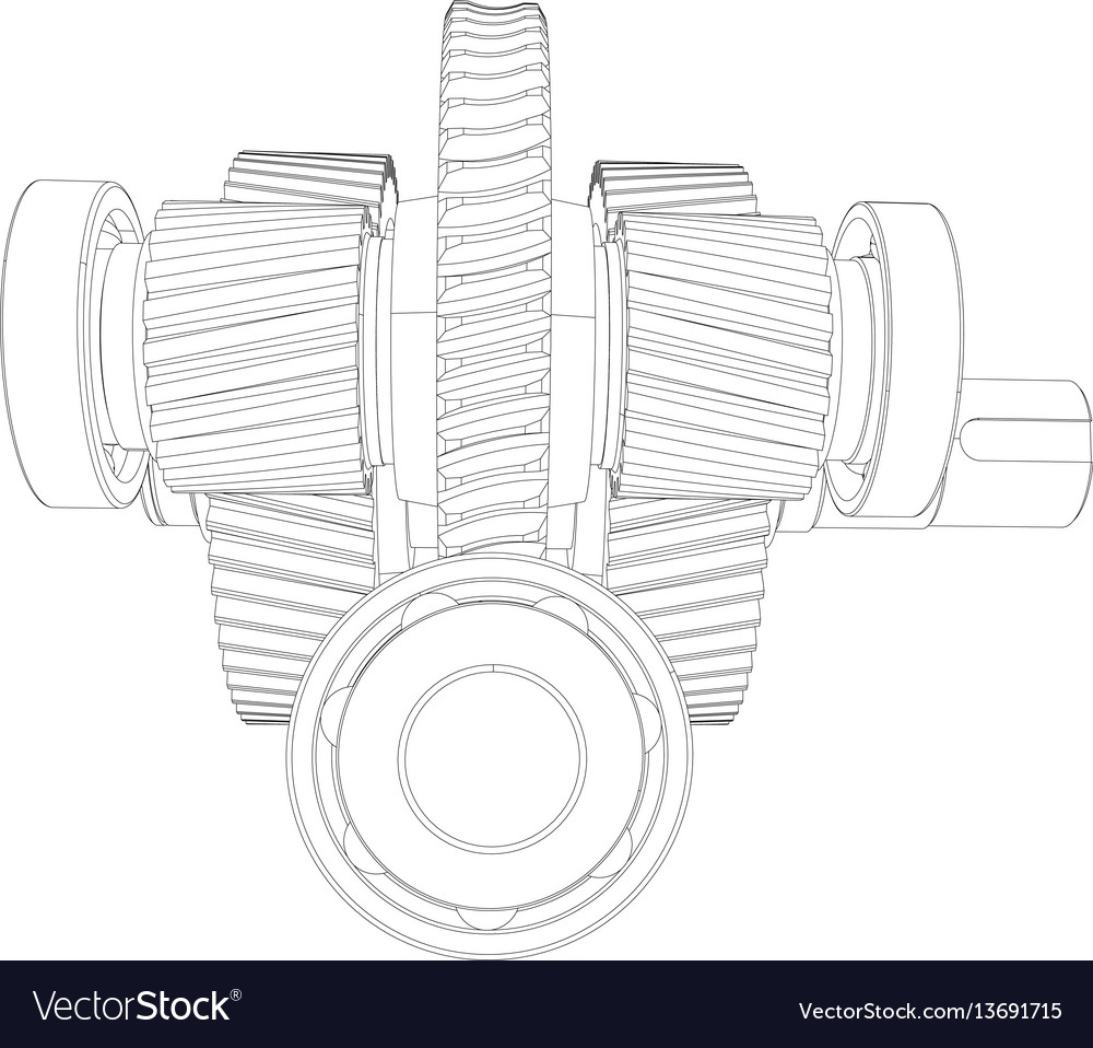 Wire-frame gears with shafts close-up vector image