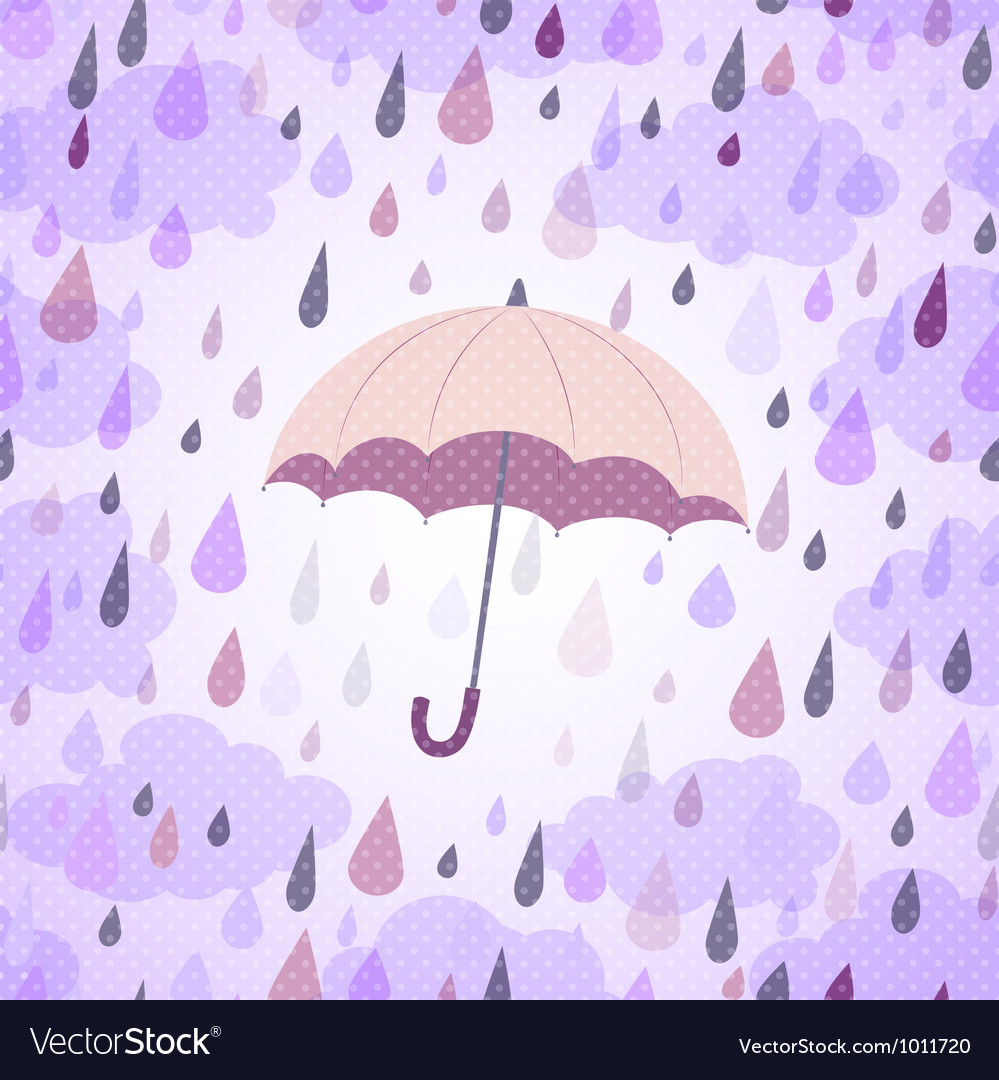 Background with an umbrella and rain vector image