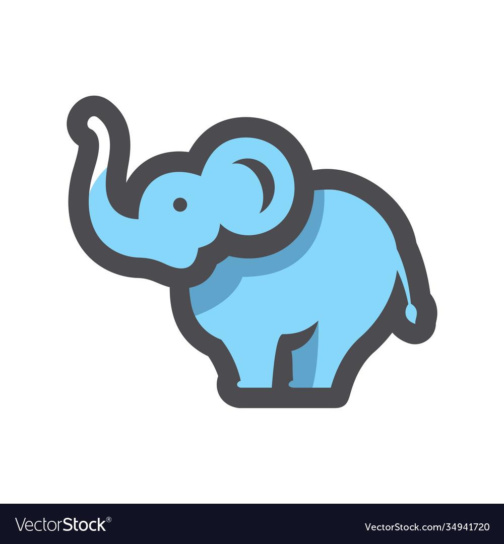 Blue funny elephant icon cartoon