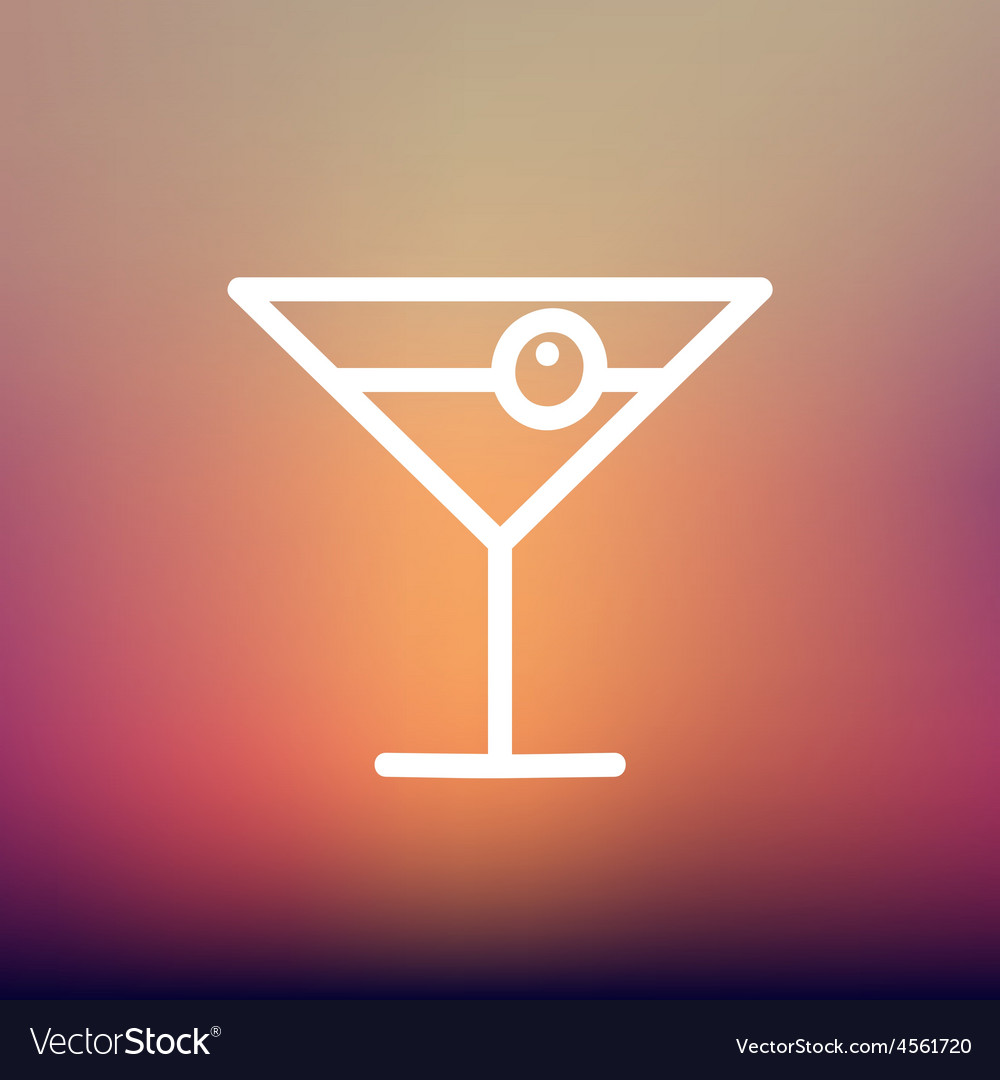 Cocktail drink with cherry thin line icon