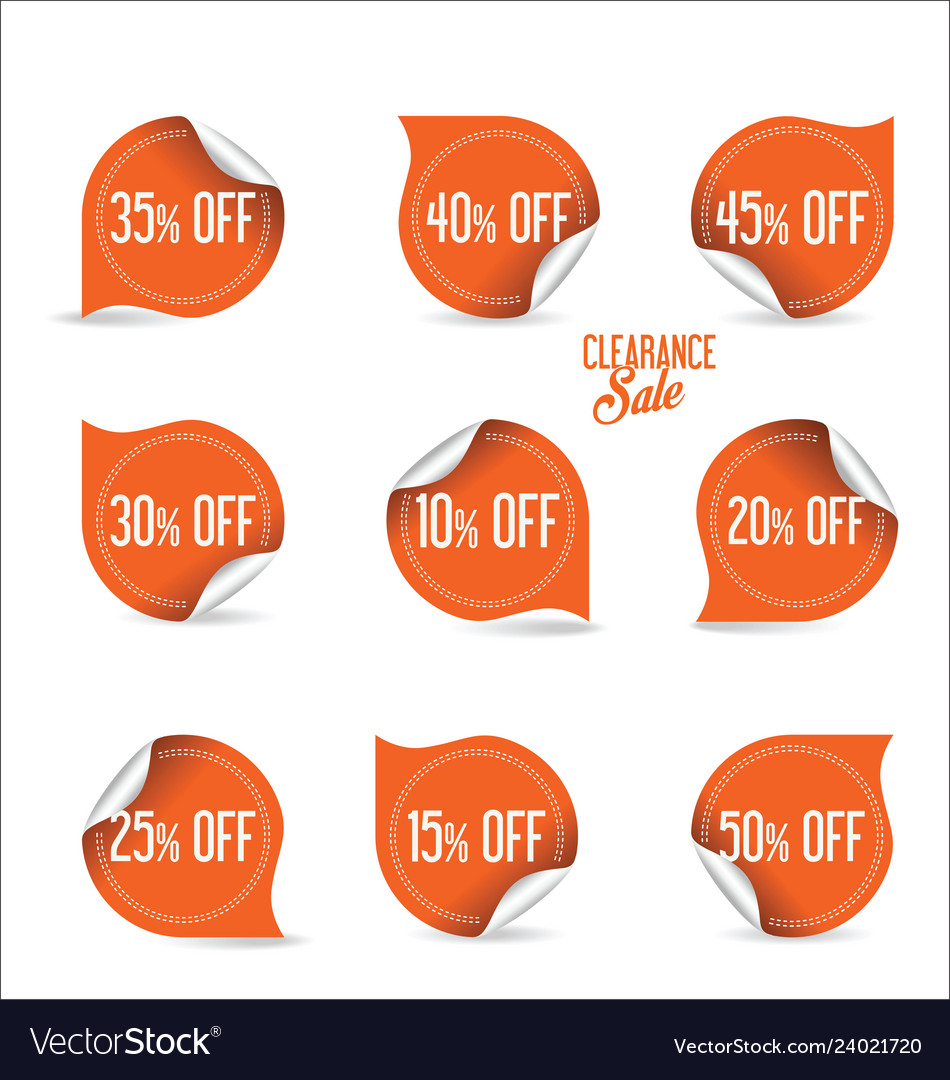 Collection of orange paper sale stickers
