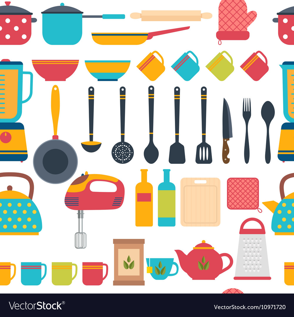 Cooking utensils background Seamless pattern with