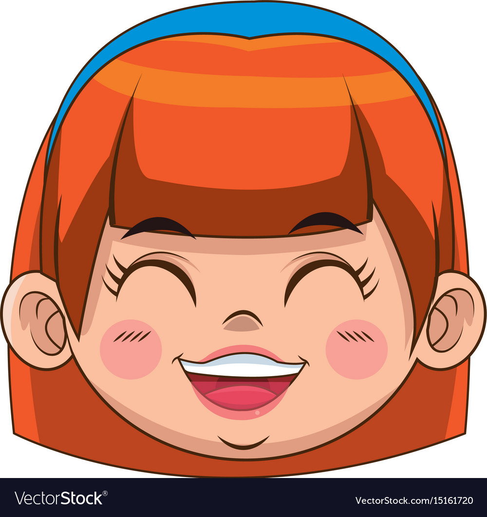 Cute cartoon girl laugh face expression Royalty Free Vector