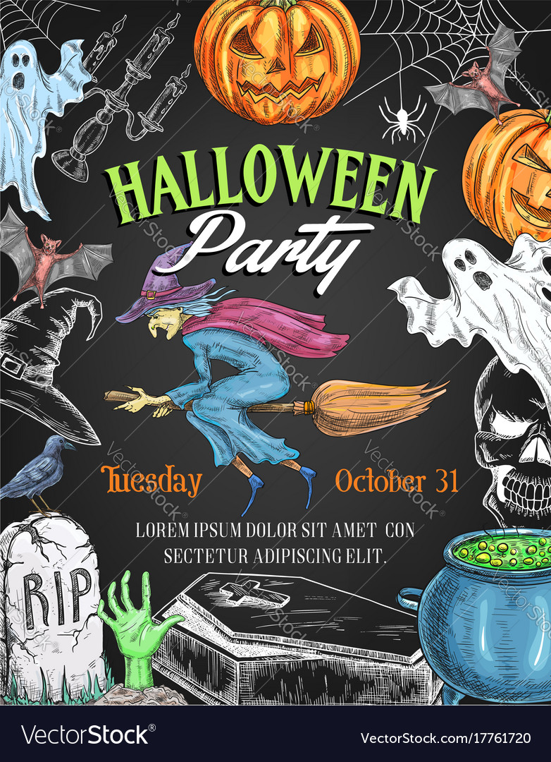 Halloween party sketch pumpkin witch poster