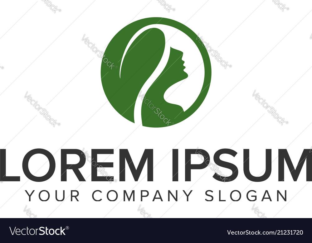 Herbal hair woman logo design concept template