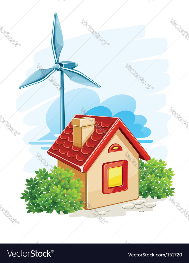 House with wind turbine vector image