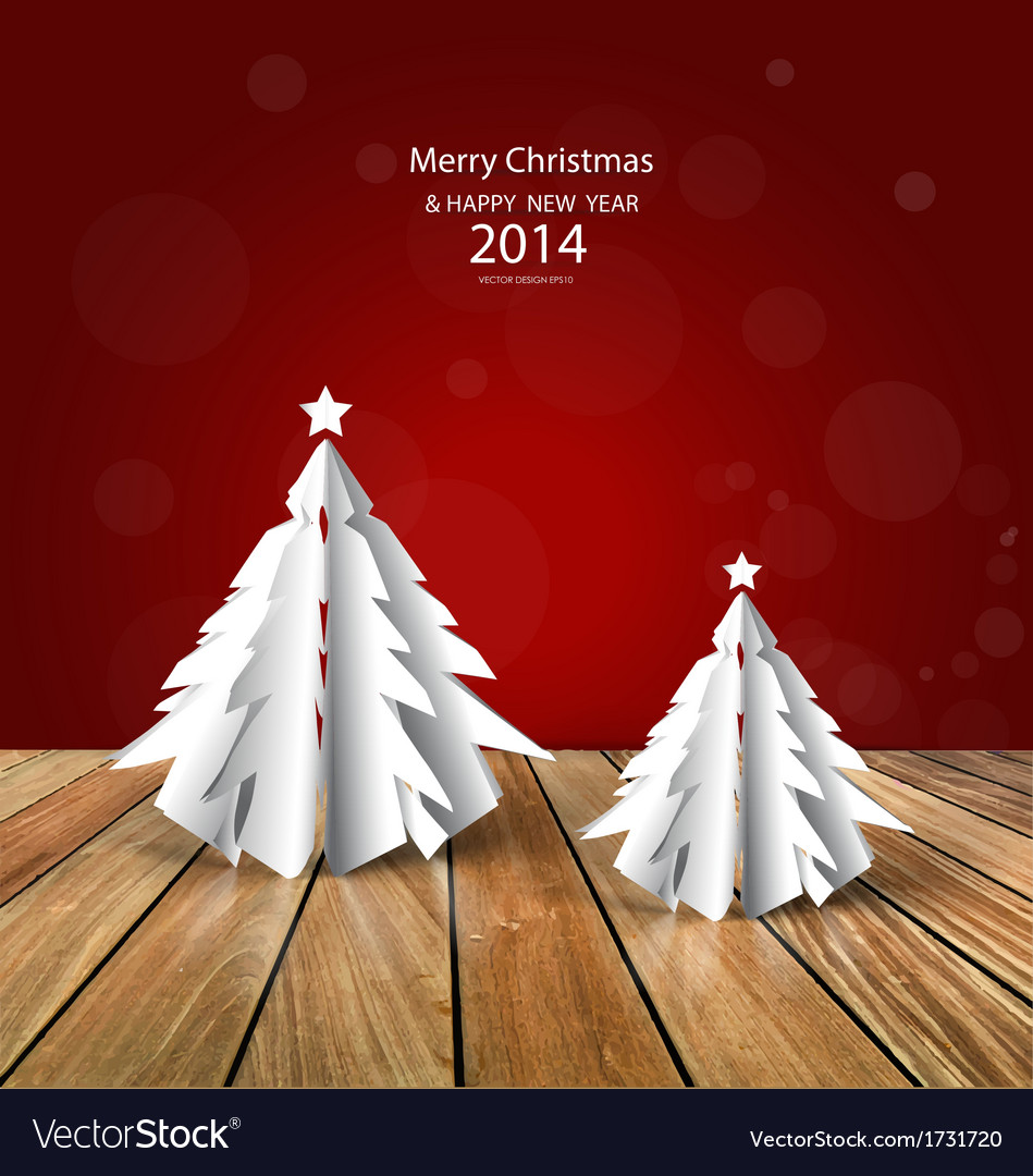 Merry christmas greeting card with origami vector image m4hsunfo