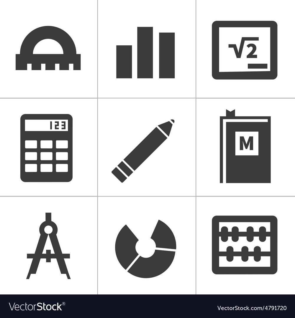 Monochrome flat maths icons vector image