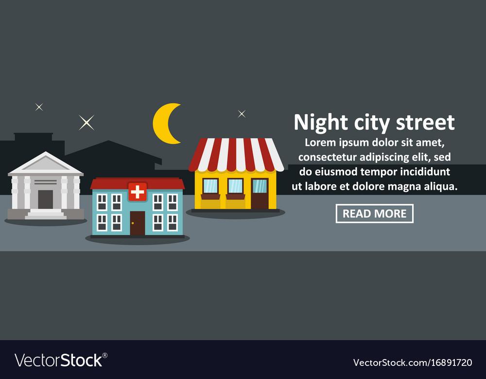 Night city street banner horizontal concept