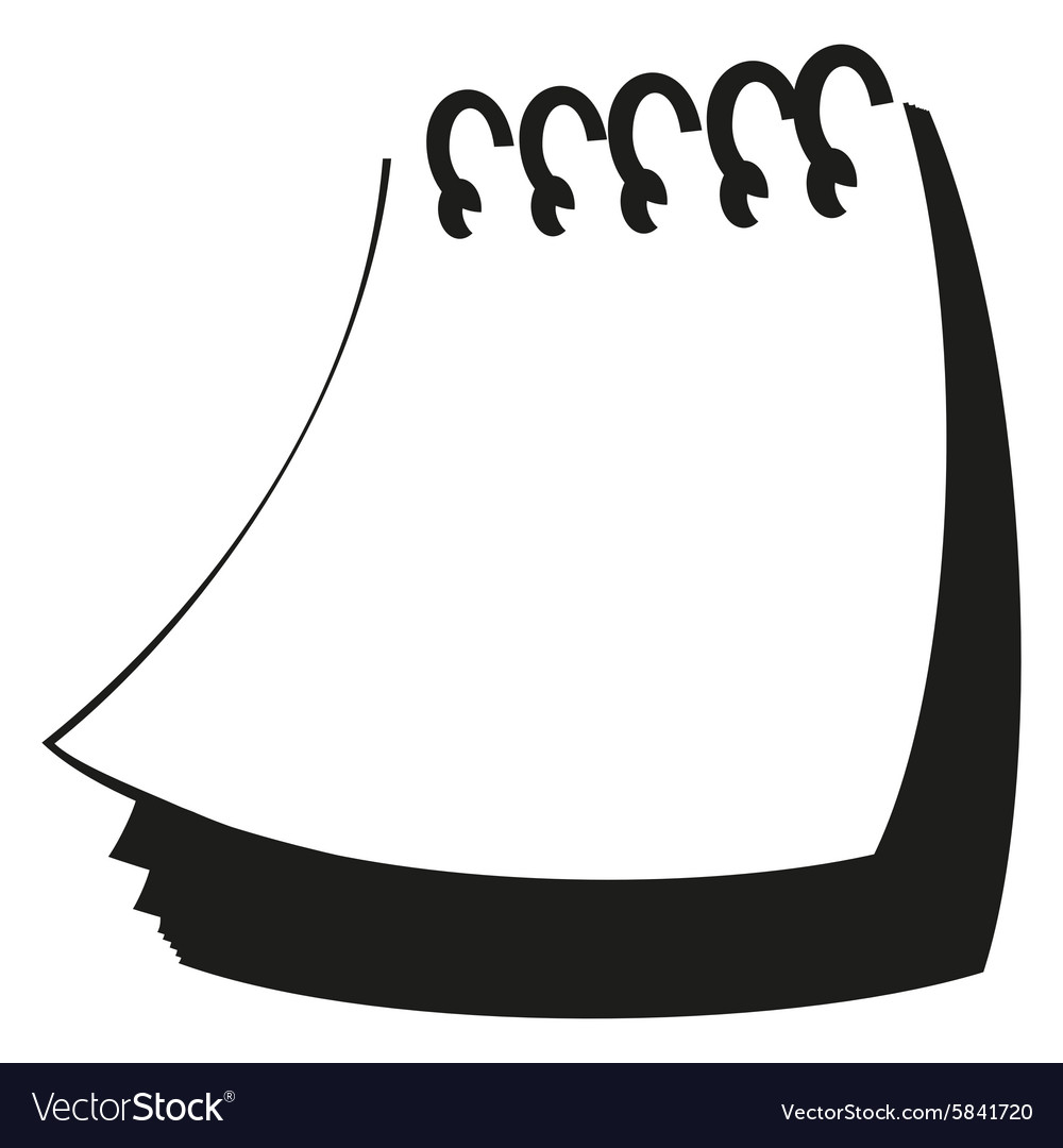 Notepad silhouette vector image
