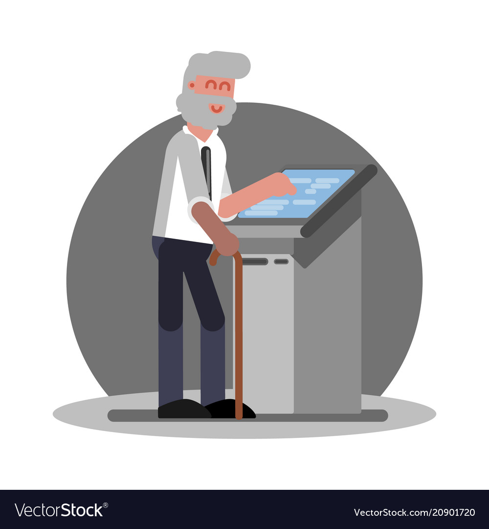 Old man using atm vector image