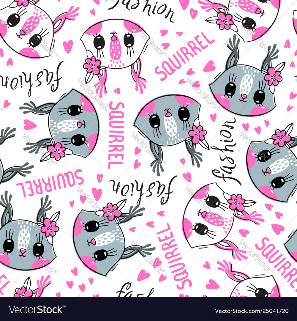 Seamless pattern with cute squirrel face with a