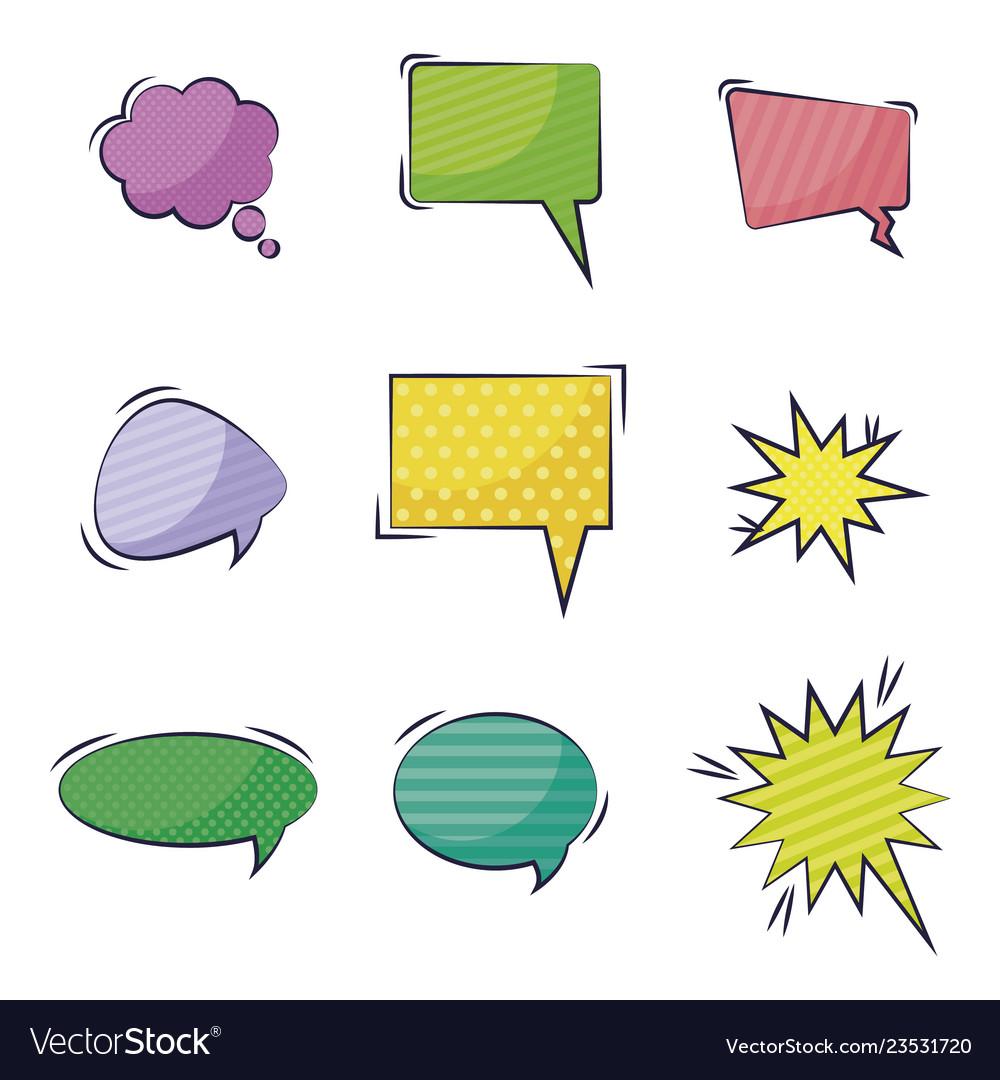 Set of speech bubbles comic pop art