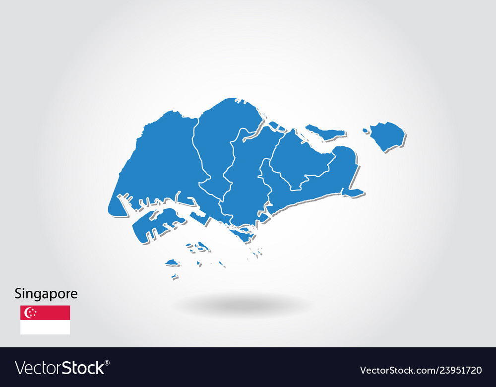 Singapore map design with 3d style blue singapore Vector Image