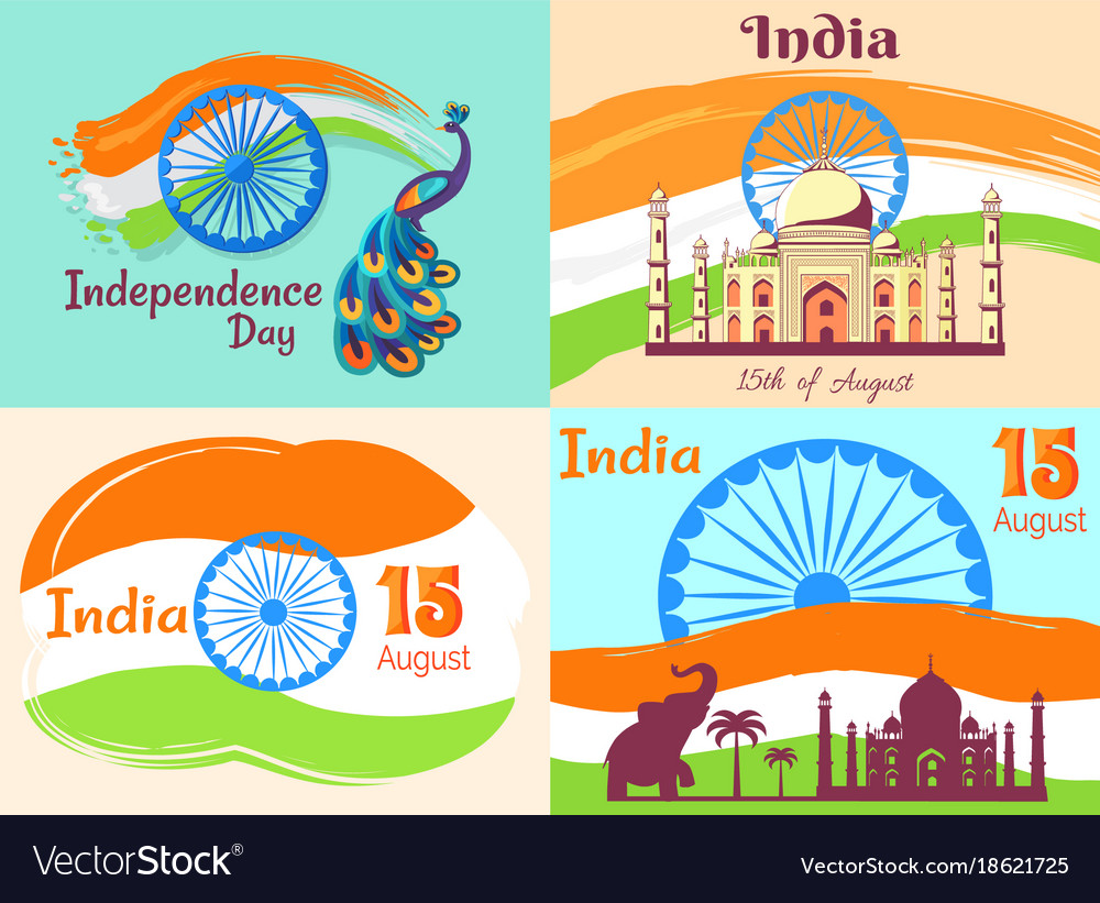 15 august independence day in india posters set