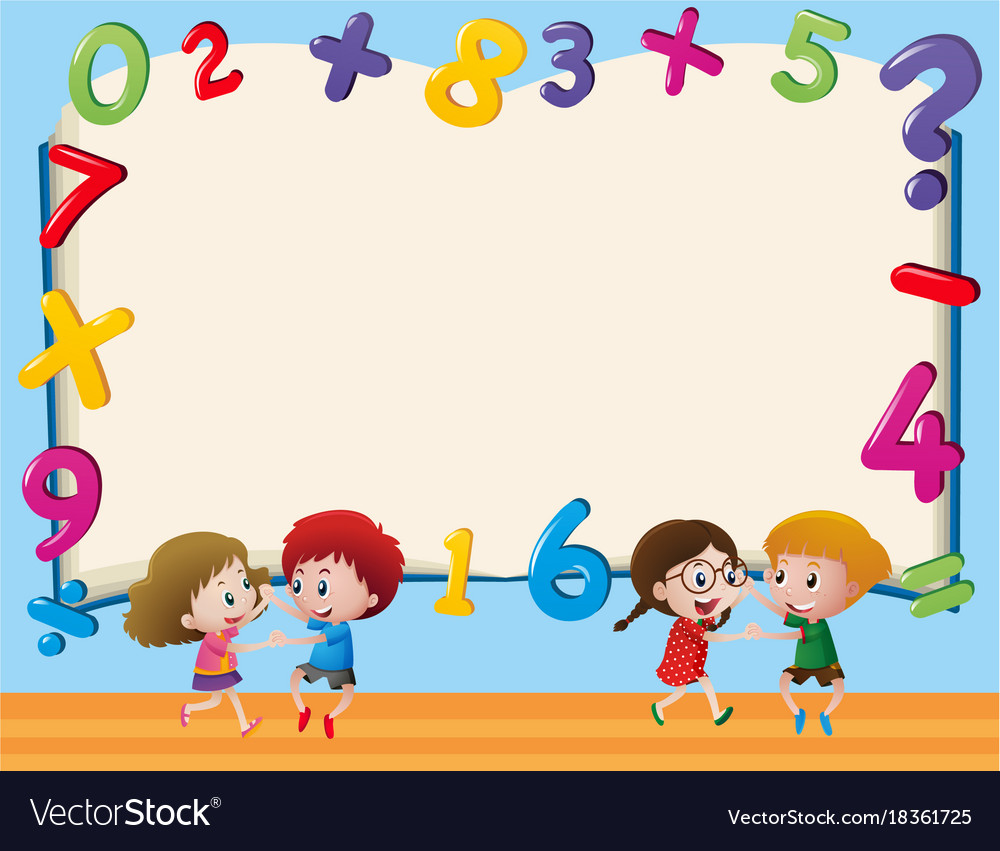 Border template with kids and numbers Royalty Free Vector