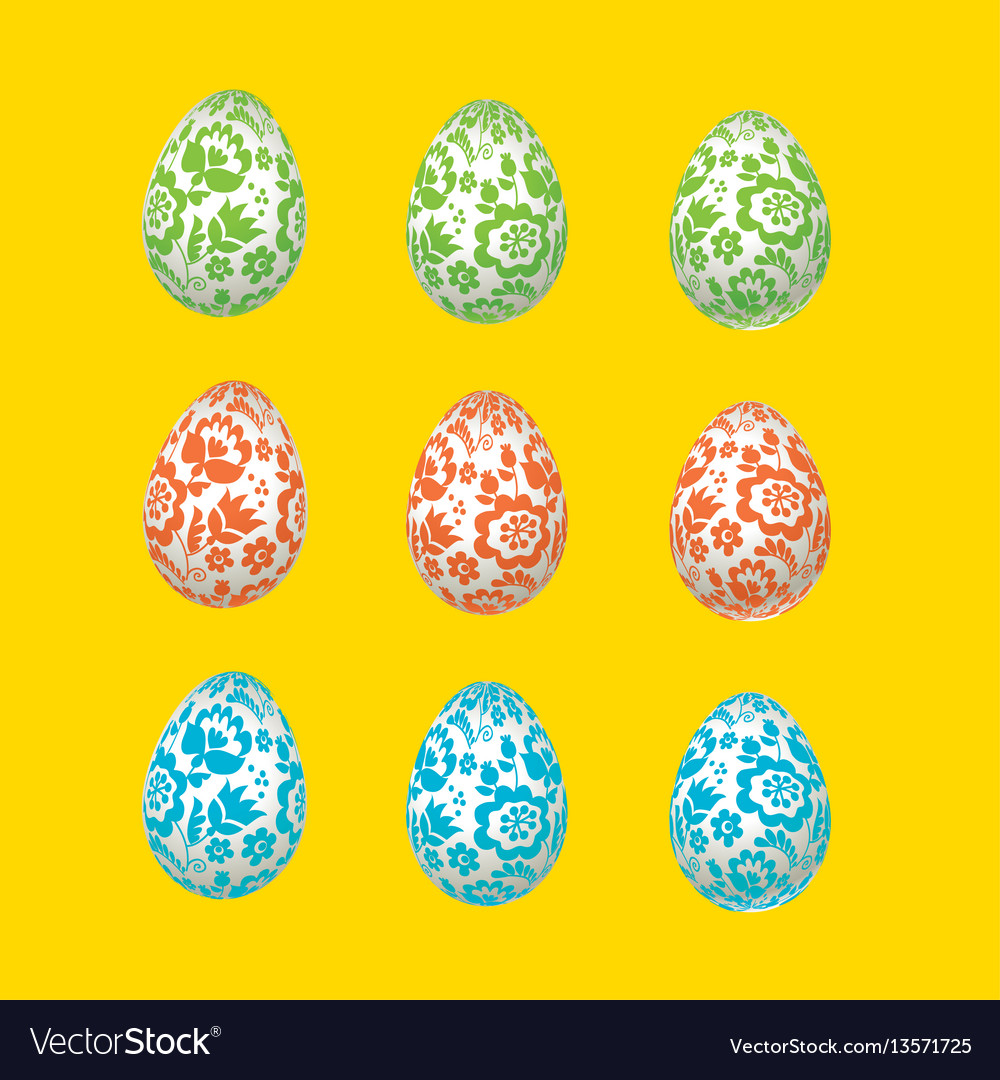 Colorful easter egg decoration floral folk-style vector image