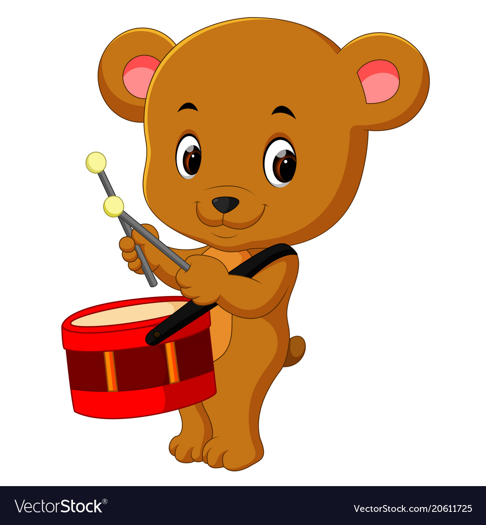 Cute bear playing drum