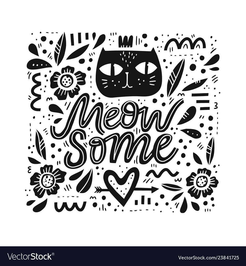 Cute cat hand drawn black