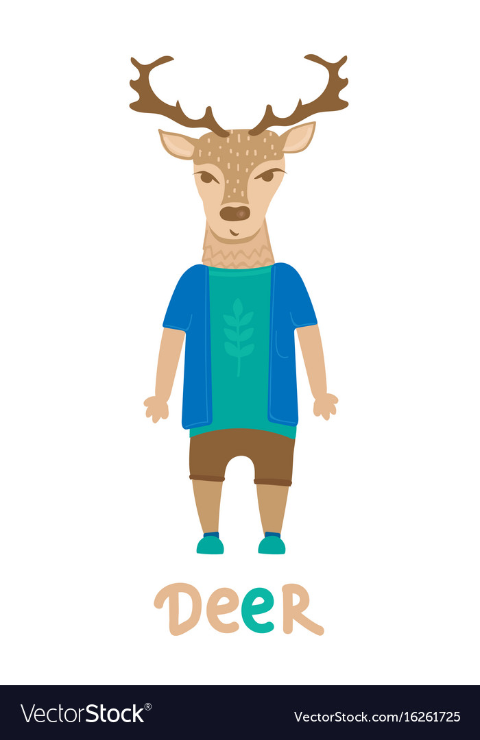 Deer hipster with dressed up in blue t-shirt art