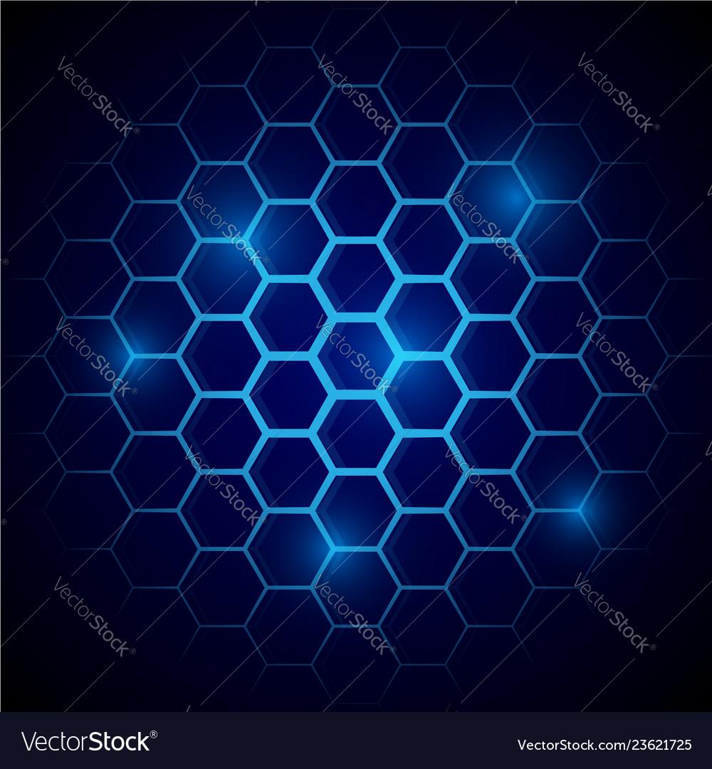 Futuristic blue honeycomb pattern hexagonal