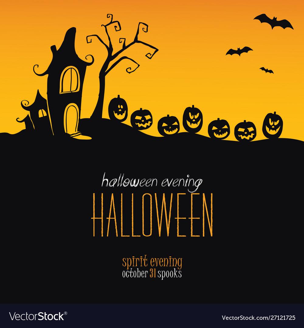 Halloween background silhouettes pumpkins