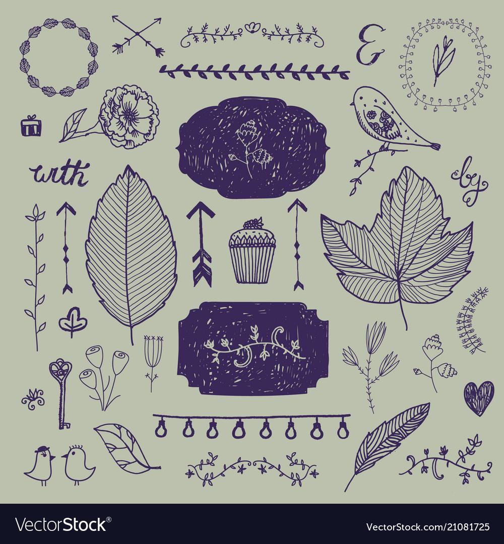 Hand drawn doodle romantic set linear vector image