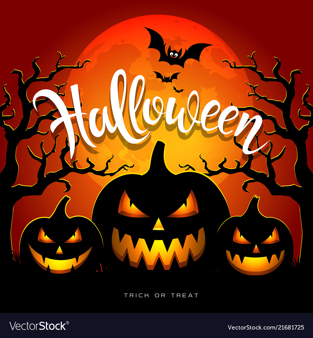 Happy halloween full moon three pumpkins