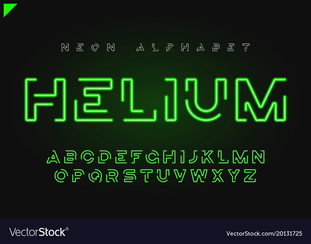 Helium futuristic linear neon alphabet