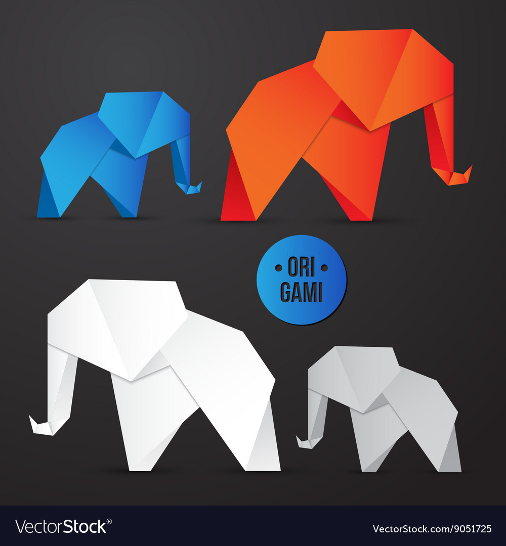 Paper origami elephant icon Colorful