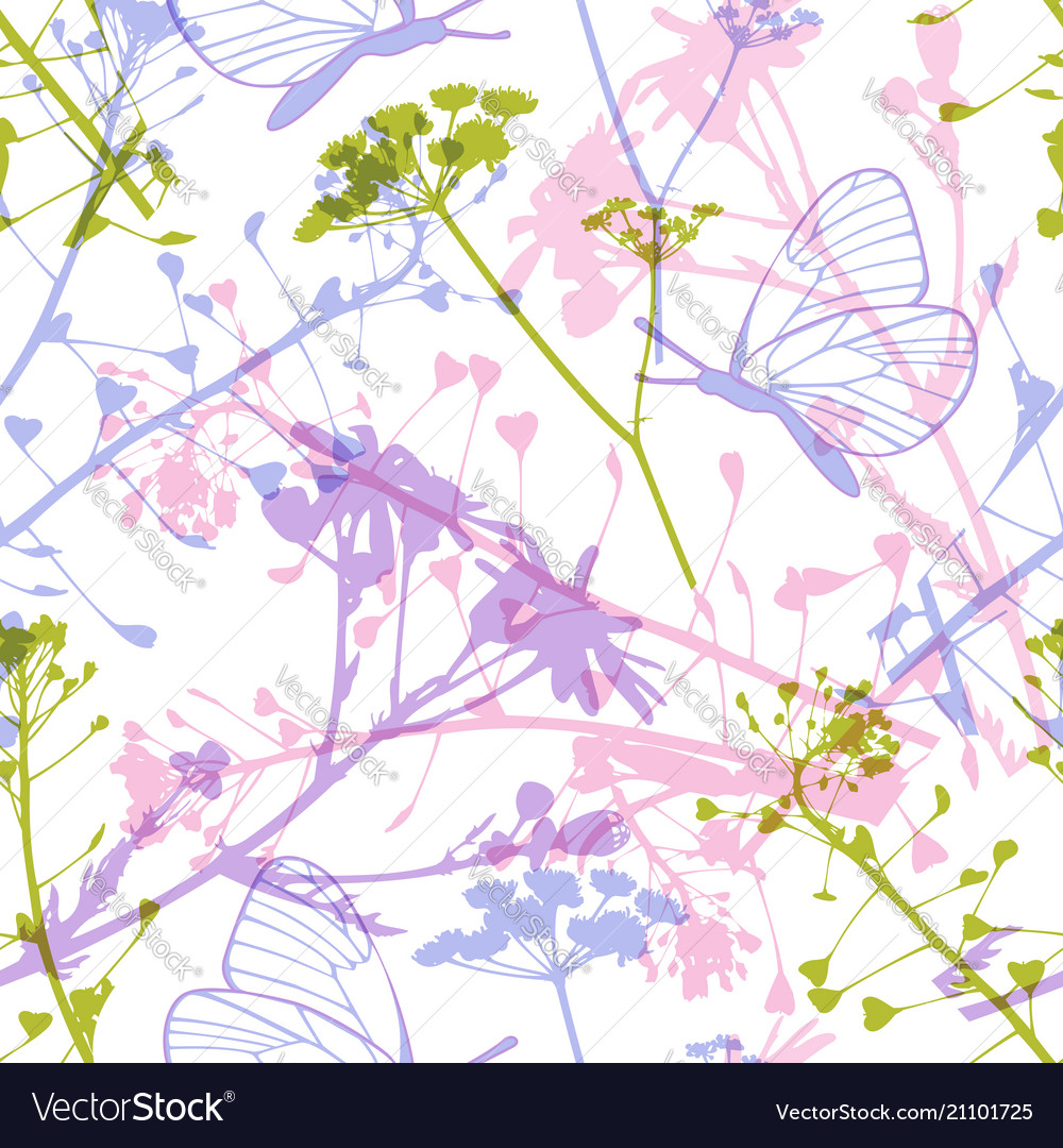 Seamless pattern with butterflies and wildflowers