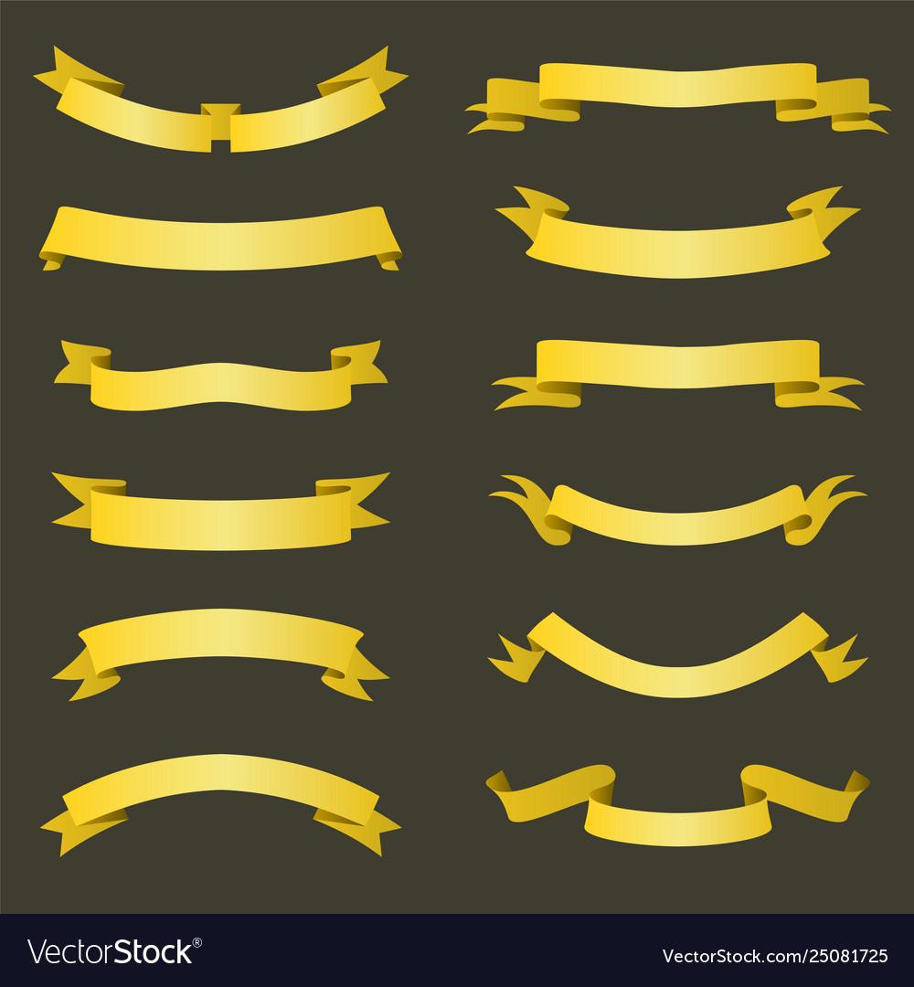Set golden ribbons banners flat design